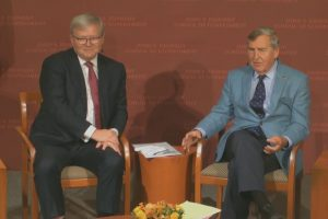 Kevin Rudd with Dr Graham Allison at the Harvard Kennedy School JFK Forum