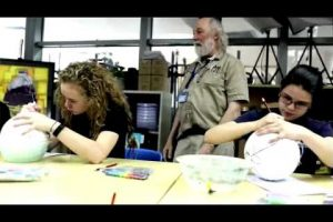 Artist Dick Termes works with students at Concordia International School Shanghai