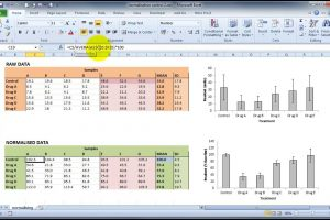 Normalising grouped data in Excel